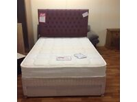 LUXURY DOUBLE BED WITH POCKET SPRUNG MATTRESS AND DRAWER