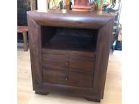Dark Brown Solid Wood QUALITY Furniture Bedside Night Side Table Dresser in VGC!