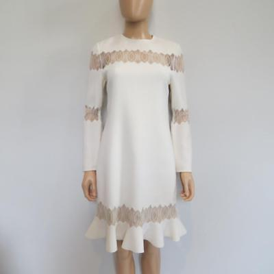 Huishan Zhang Ivory 'Eliza' Wool/Lace Long Sleeve Dress Size UK 12/US 8 $1,300