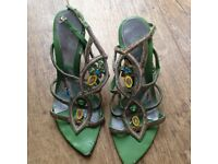 green high heeled shoes size 5