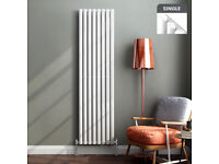 Vertical Designer Central Heating Radiator Oval in Gloss White, almost brand new