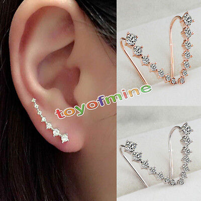 Earrings - Women Fashion Rhinestone Gold Silver Crystal Earrings Ear Hook Stud Jewelry