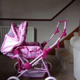 Girls Pink Dolls Pram