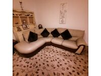 Lovely and comfortable beige and brown leather curved corner sofa nice design