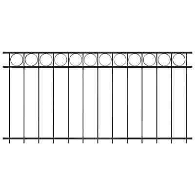 vidaXL Fence Panel Steel 1.96x1m Black Outdoor Garden Patio Barrier Partition