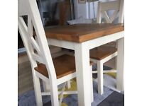 Small solid oak and cream/ivory table and chairs