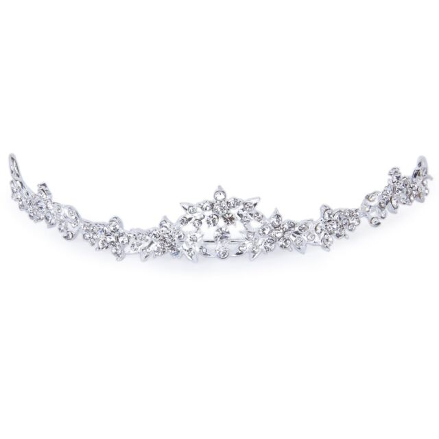 Rhinestone Crystal Flower Bridal Crown Headband Veil Tiara Wedding Prom New BT