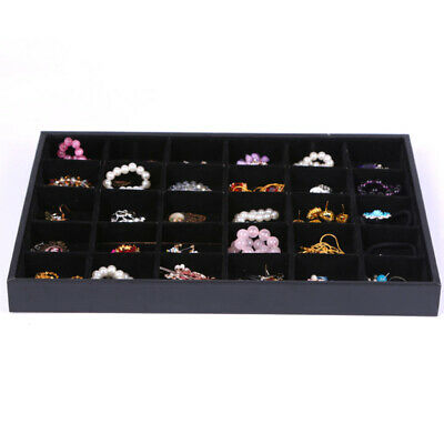 Chic Black Velvet Jewelry Display Tray Bracelet Watch Anklet 30 Compartments