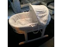 Babies Moses basket with rocking stand