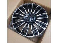 "x4 22"" Range Rover 9 Style Alloy Wheels Vogue Sport Discovery Svr Svo Black Pol"