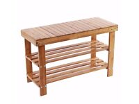 2 Tier Natural Bamboo Shoe Rack Bench Storage Organiser Holder 40 X 44 X 28 cm