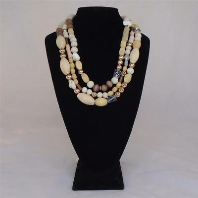 LYDELL NYC CHUNKY WOOD GLASS SHELL LAYERED STATEMENT NECKLACE FREE SHIPPING (Free Eyeglasses Nyc)