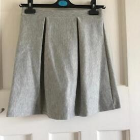 Grey Pleated Skater Skirt