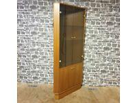 Turnidge of London Teak Corner Display Cabinet with Glass Doors & Light