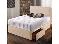 """Stone Suede Divan Bed & 10"""" Memory Foam Sprung Mattress With Free Headboard FREE NATIONWIDE DELIVERY"""