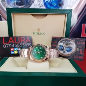 New Complete Package rose gold strap green face ceramic bezel Rolex Daydate automatic sweeping