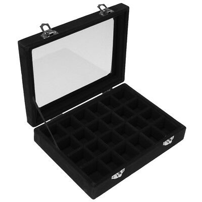 Elegant Jewelry Necklace Earring Storage Display Box Case Glass Lid Black