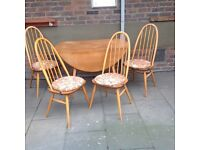1960 Dated Drop-Leaf Ercol Dinning Table & Four Chairs