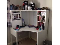 Corner workstation (white) & adjustable office chair (black)