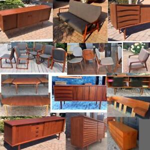 RESTORED Danish Mid Century Modern Teak Walnut Rosewood furniture from $400 SIDEBOARD DRESSER TABLE SOFA LOUNGE CHAIR