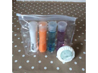 Clear Small Washbag with mini toiletries (new). Good for gifts, stocking filler or on a Plane