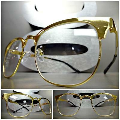 Men or Women VINTAGE RETRO Style Clear Lens EYE GLASSES Gold Metal Fashion Frame