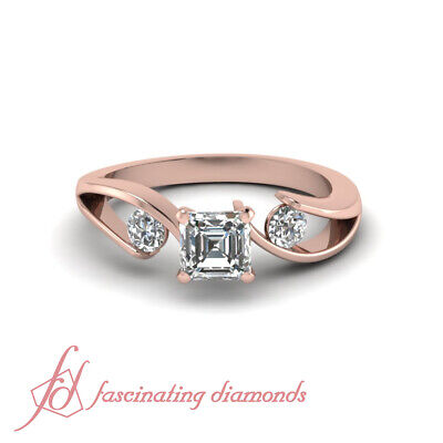 3/4 Ct Rose Gold 3 Stone Asscher Cut Diamond Engagement Rings Tension Set GIA