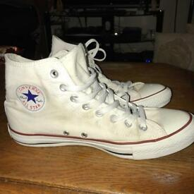 All-White High-Top Converse Size 9