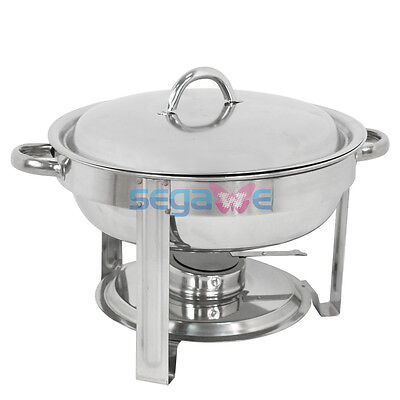 Cook And Home Round Chafing Dish Chafer With Lid 5-qt 5 Quart Stainless Steel