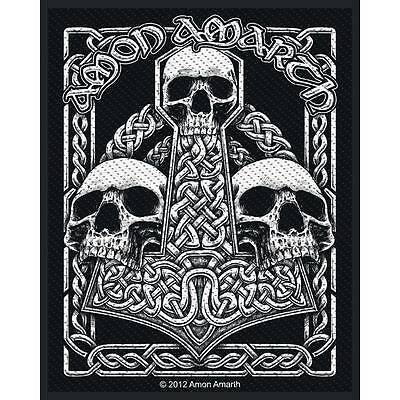 OFFICIAL LICENSED - AMON AMARTH - THREE SKULLS WOVEN SEW-ON PATCH METAL VIKING