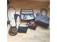 Assortment of ladies leather and non leather handbags