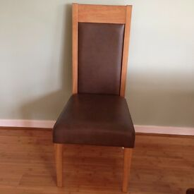 1 Solid oak chair real leather in brown, hardly used, all in clean VGC.