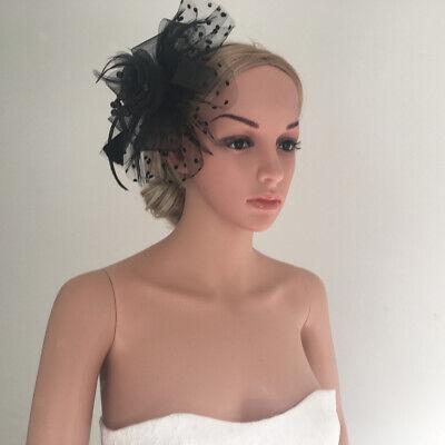 Damen Feder Fascinator Haarreif Blume Schleier Hut Stirnband Kopfband ()