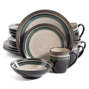 NEW Gibson Home Lewisville 16 Piece Dinnerware Cream with Teal Reactive Metallic Rim,