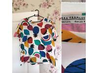 Zara Fruit Print Tshirt Size Small Basically New!