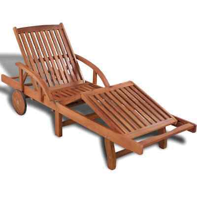 Solid Wooden Garden Sun Lounger Chaise with 2 Wheels Outdoor Patio Pool Deck