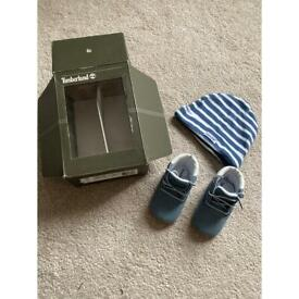Timberland baby booties and hat