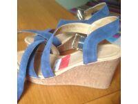 Wedge blue suede sandals