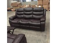 Brand new brown 3 + 2 leather recliner sofa suite