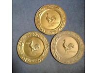Vintage solid brass carage rooster plates