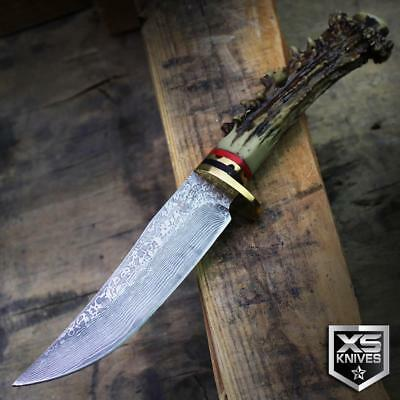 """9"""" Ornate Faux Dark STAG & DAMASCUS Survival Hunting Knife Fixed Blade + SHEATH"""