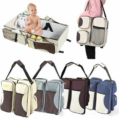 3 in 1 Foldable Diaper Tote Bag Travel Bassinet Nappy Changing Station Baby Bed