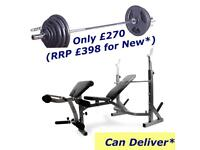 LikeNew Olympic Bench With Weights Set. •Can Deliver•