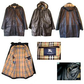 GENUINE BURBERRY LADIES BLACK LEATHER DUFFLE COAT (Used)