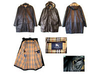 GENUINE BURBERRY LADIES BLACK LEATHER DUFFLE COAT (Used)