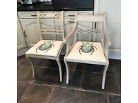 2 x vintage upcycled shabby chic dining chairs