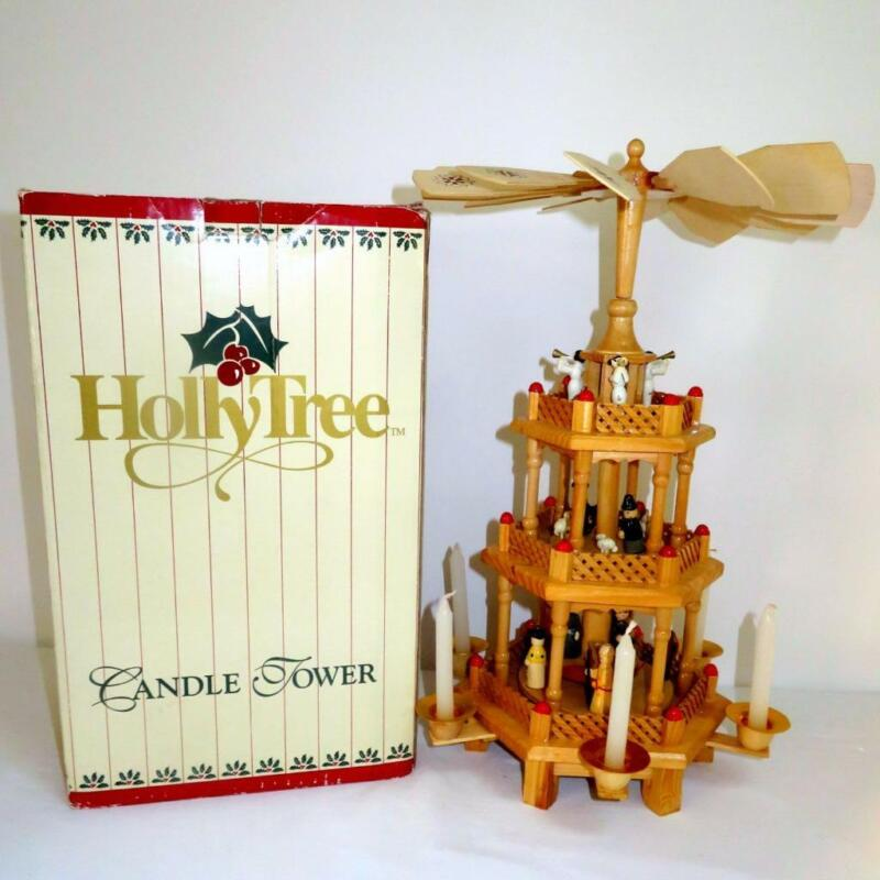 """Holly Tree 3-Tier 18.75"""" Tall Wooden Nativity Candle Tower Pyramid Carousel"""
