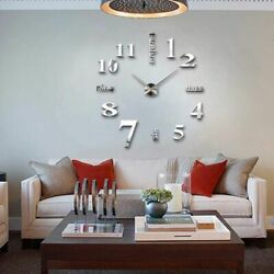 Modern Large Wall Clock 3D Mirror Sticker Unique Big Number Watch DIY Decor