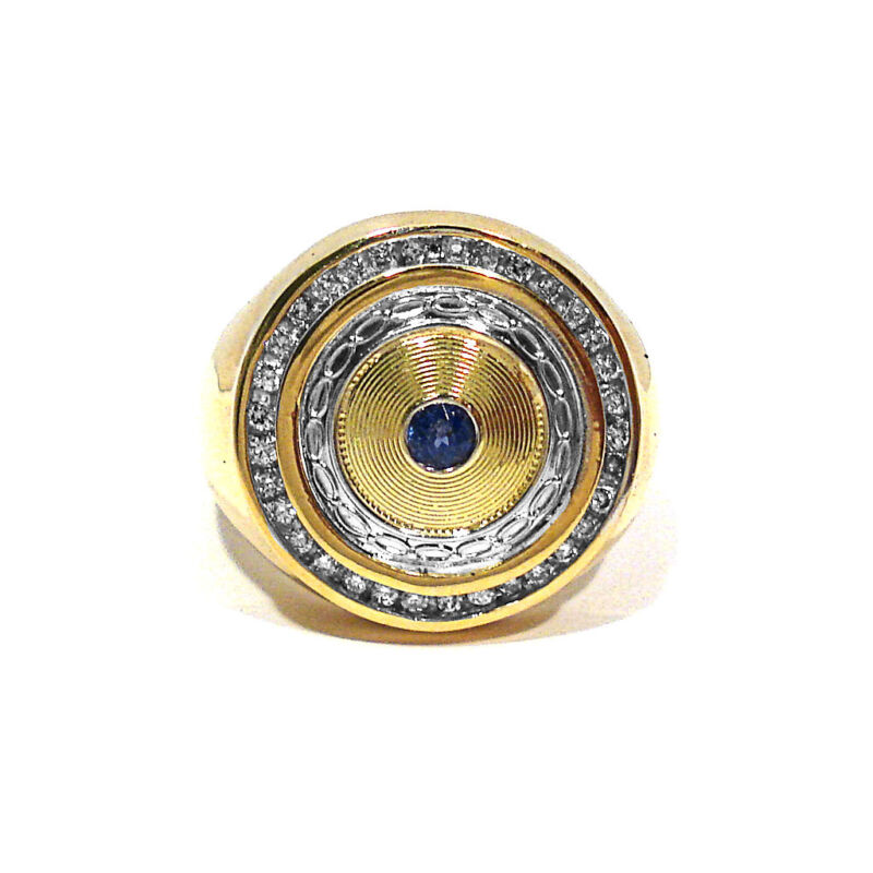 SOLID 10K YELLOW GOLD DIAMONDS & SAPPHIRE RING ~ SIZE 12 1/2