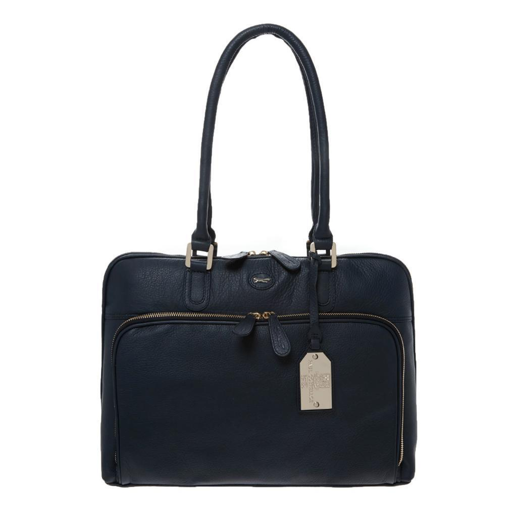 PAUL COSTELLOE Navy Blue Leather Laptop Bag